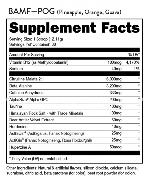 BAMF High Stimulant Nootropic Pre-Workout - Suppelment Facts by DAS Labs