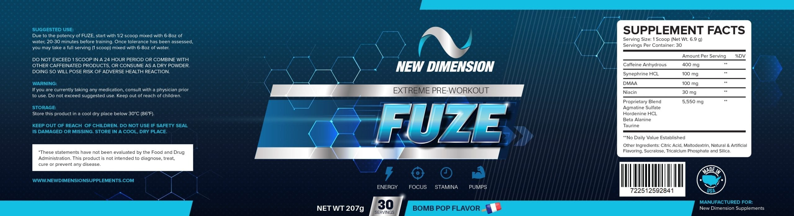 FUZE Pre-Workout Supplement Facts By New Dimension Supplements